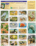 USA National Wildlife Federation Labels In Complete Sheet Of 36 Stamps - LABELS! - Stamps
