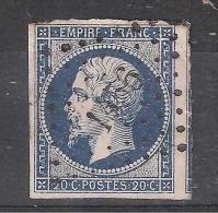 Êmpire N° 14 A A, BLEU TRES FONCE Obl Pc 1456 De GRIGNAN, Drôme, INDICE 6, 1 VOISIN, TB - 1853-1860 Napoleone III