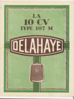 """Pub """"la 10 CV Type 107 M DELAHAYE"""" ( 2 Scans) - Automovilismo"""