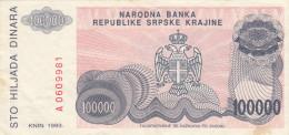 KNIN 100000 DIN 1993 P R22 - Croatie