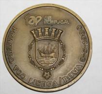 PORTUGAL - 1980, PRIMERO VOO LISBOA-ROMA AIR PORTUGAL BRONZE MEDAILLON - Professionali / Di Società