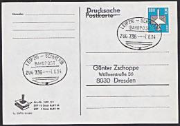 LEIPZIG - SCHWERIN BAHNPOST-St. ZUG 736  von 1984 auf Drucksache