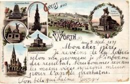 Gruss Aus Wörth - Précurseur - Cachet De Niederbronn à Dieuze (Bas De La Carte Abimé Sur La Droite) - Wörth