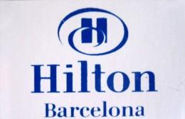 HOTEL RESIDENCIA HILTON BARCELONA SPAIN MINI LUGGAGE LABEL ETIQUETTE AUFKLEBER DECAL STICKER MADRID - Hotel Labels