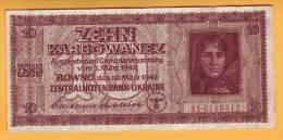 1942 Ucraina. 10 Karbovanets. - Ukraine