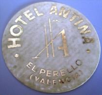 HOTEL RESIDENCIA ANTINA EL PERELLO VALENCIA SPAIN MINI LUGGAGE LABEL ETIQUETTE AUFKLEBER DECAL STICKER MADRID - Hotel Labels