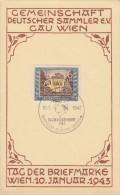 DR Sonderkarte Tag Der Briefmarke 1943 Minr.828 SST Wien  10.1.43 FDC - Deutschland