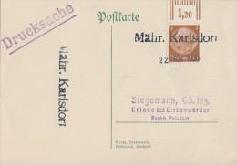 DR Karte EF Minr.513 Notstempel Mähr. Karlsdorf 22.11.38 - Besetzungen 1938-45