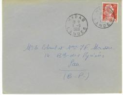 Timbre 25f Mariane Sur Lettre Obliteration Habas Landes  Du 1/6/1959 Pour Pau - Marcofilie (Brieven)