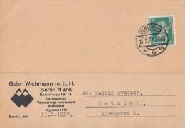 DR Karte EF Minr.387 Perfin Berlin 11.2.27 Gebr. Wichmann - Deutschland