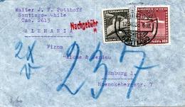 Chile 1936 - 2 Fach Frankierung Auf LP-Brief Mit Nachgebühr Von Santiago > Hamburg - Chile
