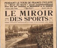 """1er Juillet 1925"""" LE MIROIR DES SPORTS"""" n�265.Tour de France cyclisme Course autom.Circuit moto Tennis R�gates"""