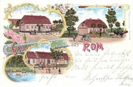 Rom In Mecklenbg., Farb-Litho Mit Gasthof Bartel, 1900 - Schwerin