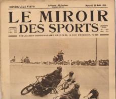 "26 Ao�t 1925"" LE MIROIR DES SPORTS"" n�276 Championnat du monde cycliste-Les 100 km-Athl�tisme-Tennis- Water-polo Natat"
