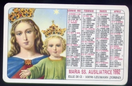 Calendarietto - maria ss.ausiliatrice - elle di ci - leumann - torino - anno 1992