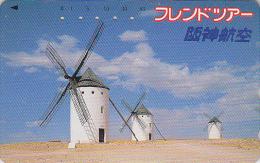 Télécarte Japon - ESPAGNE - MOULIN DON QUICHOTE - SPAIN MILL Japan Phonecard - Site HANSHIN AIRLINES 07 - Landschaften