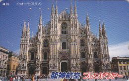 Télécarte Japon - ITALIE  MILAN CATHEDRALE - ITALY MILANO - Japan Phonecard - Site HANSHIN AIRLINES 26 - Landschappen