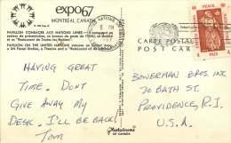1967  Postcard Sent From The UN Pavillon At EXPO 67   -  UN Stamps In Canada - Briefe U. Dokumente