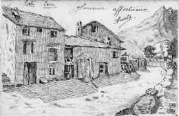CORSE - CORTE -  Carte Dessin Original Très Précis - (Maisons De La Vallée De La Restonica ?) - Drawings