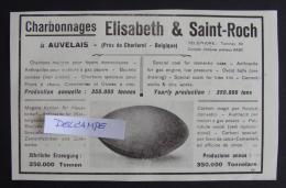 reclame ELISABETH & SAINT-ROCH Charbonnages AUVELAIS charbons 1923 kolen KOOL approx 21-13 cm PUB
