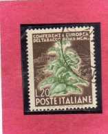 ITALIA REPUBBLICA ITALY REPUBLIC 1950 CONFERENZA EUROPEA DEL TABACCO TOBACCO CONGRESS LIRE 20  USATO USED OBLITERE´ - 1946-60: Oblitérés