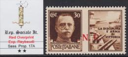 ITALY - 1944 R.S.I. -VARIETA´ Propaganda N.17A  Cat. 1000 Euro -con CERTIFICATO +Firmato RAYBAUDI - GOMMA INTEGRA -MNH** - 4. 1944-45 Repubblica Sociale
