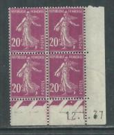 France N° 190 X Type Semeuse : 20 C. Lilas-rose En Bloc De 4 Coin Daté Du 12 . 1 . 37  Trace De  Charnière Sinon TB - ....-1929
