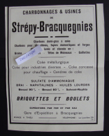 reclame STREPY-BRACQUEGNIES Charbonnages & Usines Charbons 1923 kool KOLEN  approx 21-28 cm PUB