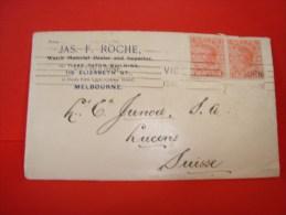 Letter, Enveloppe, Melbourne To Lucens Vaud Switzerland, Suisse, 1910, JAS. F. Roche, Watch Material Dealer - 1850-1912 Victoria