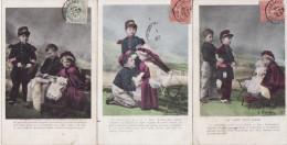 """FANTAISIE -  LOT De 6 Belles Cartes Anciennes """" Le Siége D'un Coeur """" - Militaria Patriotique Enfants - Non Classés"""