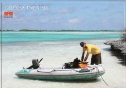 Kiribatii-Orona /Hull/ Island, Phoenix Islands Of Kiribati.Lagoon-bateau, Coral Atoll, Flag-drapeau, Circule Non - Kiribati