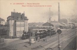 71 LE CREUSOT  USINE SCHNEIDER  DEPART DE DEUX LOCOMOTIVES DE 65 TONNES - Le Creusot