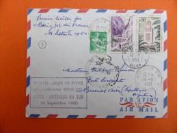 Enveloppe Premier Jour 1960 - Première Liaison Air France Boeing 707 Paris - Amérique Du Sud 16 Sept. 1960- - Avions