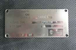 Plaque d'identification avion TB30 Epsilon Socata Tarbes
