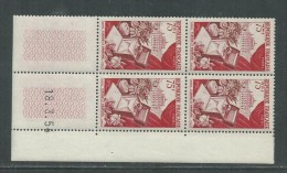 France N° 974 XX  Production De Luxe : Fleurs, Parfum   En Bloc De 4 Coin Daté  Du 18 . 3 . 54  ; Sans Charnière, TB - 1950-1959