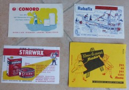 BUVARD  -  LOT  DE 4  BUVARDS  - CHAUSSURE  BATA - CONORD  -  STARWAX  - RUBAFIX - Lots & Serien