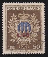 S. MARINO 1946  Welfare Overprint  Mi. 351 - Sass. 297 Serie Cpl. 1v. Usato Perfetto - Usati
