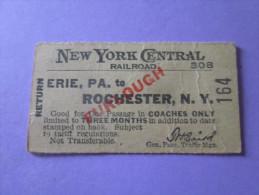 USA WW2 NEW YORK CENTRAL RAILROAD 1944 / CHEMIN DE FER/TICKET DE TRAIN - Railway