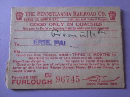 USA WW2 PENNSYLVANIA RAILROAD 1944 / CHEMIN DE FER/ TICKET DE TRAIN - Monde