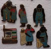 201411- DE 1992 - SIX PINS OMO GORILLE - Pin's