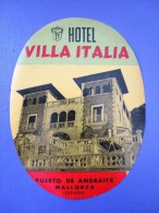 HOTEL PENSION ITALIA ITALY ANDRAITX PALMA MALLORCA BALEARES SPAIN LUGGAGE LABEL ETIQUETTE AUFKLEBER DECAL STICKER Madrid - Hotel Labels