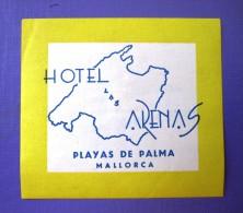 HOTEL PENSION HOSTAL ARENAS PALMA MALLORCA BALEARES SPAIN LUGGAGE LABEL ETIQUETTE AUFKLEBER DECAL STICKER Madrid - Etiquettes D'hotels
