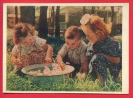 156705 / TOY Duck Canard Änte Anatra AND LITTLE  GIRL BOY - PHOTO Publ. Russia Russie Russland Rusland - Spielzeug & Spiele