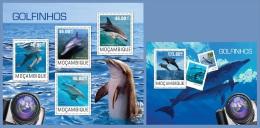 m14409ab Mozambique 2014 Dolphins 2 s/s