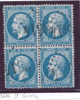 N°22 BLOC DE 4 TIMBRES LOSANGE G.C. - 1862 Napoleon III