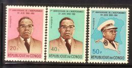 Congo Democratic Republic 1961 Kasavubu & Map 3v MNH/Mint - République Du Congo (1960-64)
