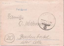 """Feldpost Brief mit Inhalt   Absender """" im Osten""""  - Beedenbostel"""