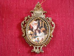 Décoration Noël Vintage , Chromo Sur Matière Plastique - Décoration De Noël