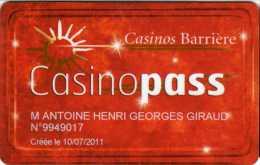 France : Casino Barri�re Casinopass (Nominative)