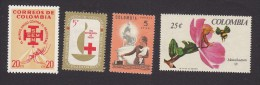Colombia, Scott #740, 751, 752, 768, Mint Hinged/No Gum, Malaria, Red Cross, Women's Rights, Flower,  Issued 1962-67 - Colombie